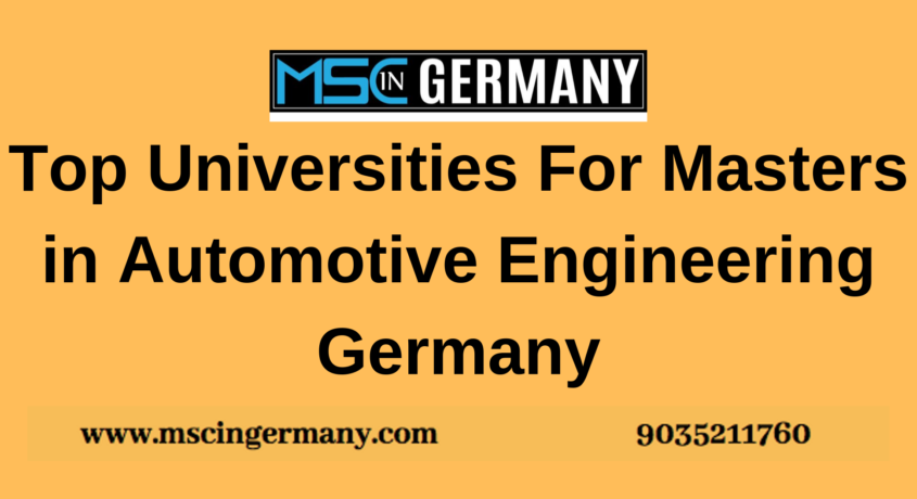 Top Universities For Masters in Automotive Engineering Germany