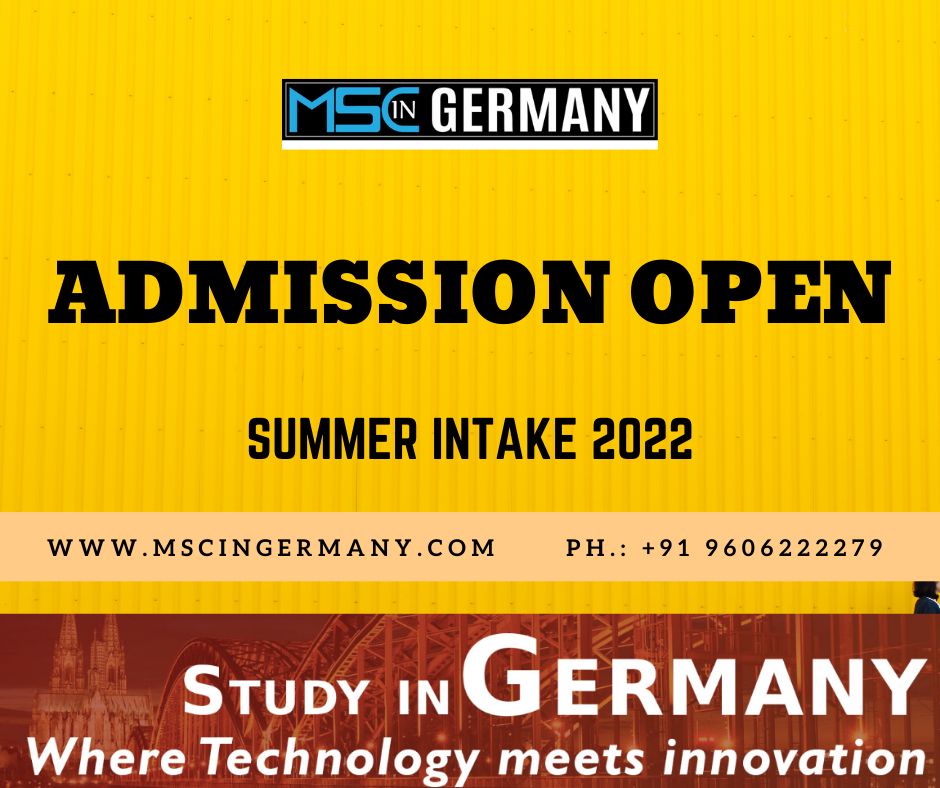 Summer intake 2022 - Ms in Germany